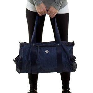 Lululemon Duffle Run On Black Cadet Blue Mesh Bag